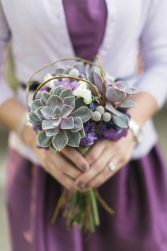 purple and succulents. Plus I love the lavender cardigan (it just might be chilly on the big day)