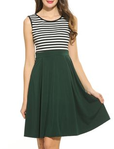 fbb586e614 Maternity Fashion - ACEVOG Womens Vintage Stripes Patchwok Aline Sleeveless  Cocktail DressGreenXLarge     Click image to review more information.