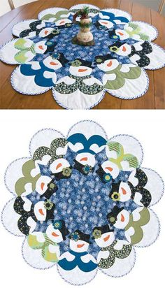 ~ Snowmen All Around Tree Skirt or Table Topper ~ In a kit....