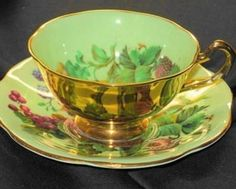 Rosina Strawberry Lime GOLD Cheeky Tea cup and saucer