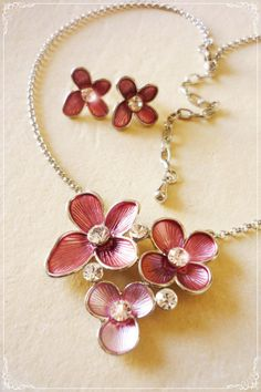 Jewelry Set Necklace & Earring Blooming Myst Pink