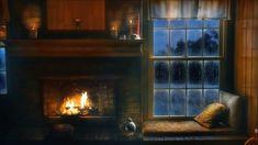 Rain on Wooden Cabin - Fireplace, Rain, Thunder & Wind Sounds, Sleep, Relax