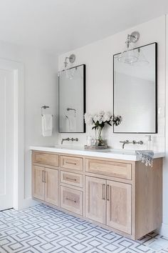 Brushed Oak Dual Washstand with Wall Mount Faucets - Transitional - Bathroom