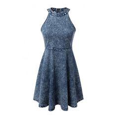 Denim Halter Grommet Zipper Back Skater Dress (43 BAM) ❤ liked on Polyvore featuring dresses, denim halter top, halter-neck tops, denim skater dress, skater dress and blue eyelet dress