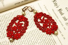 lace earrings CANDICE lipstick red by tinaevarenee on Etsy, $22.00