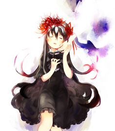 """What a clever work! The crown of spider lilies there remind me of the crown of thorns Jesus wore when being crucified. Interesting parallels... Homura went to the Tower of Cocoons knowing that she'll die, too. There is a lot of religious imagery in Rebellion. (ie. """"God is dead"""", Nietzsche.)"""