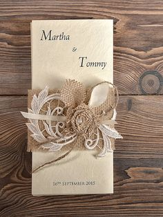 Natural Burlap  Wedding Invitation, Country Style Wedding Invitations, Lace  Rustic  Invitation Card on Etsy, $8.46 CAD