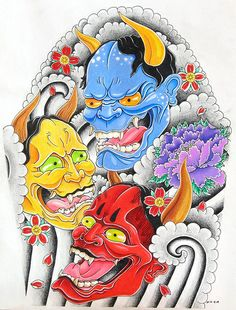 Hannya Red Blue & Yellow by ber_0302, via Flickr
