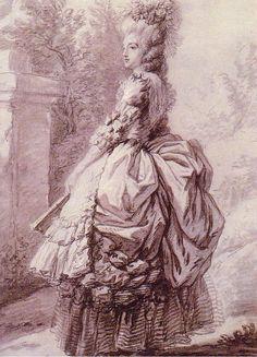 María Antonieta paseando por los jardines de Vesalles -Dibujo de Elisabeth Vigee le Brun