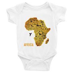 Golden Africa Infant short sleeve one-piece $24.50   #AfricanPrint #T-SHIRT #AFRICANROOTSSHOP #Onesie