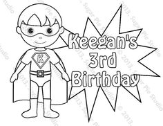 Personalized Printable SuperHero Boy Birthday Party Favor Childrens Kids Coloring Page Book Activity PDF Or JPEG