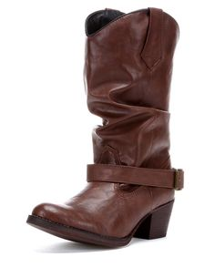 "<p class=""MsoNoSpacing"">Show off your trendy style and fashion sense by wearing the gorgeously designed women's Pretender Boot. Made in dark-brown leather, these boots stand out with stylish slouch shafts and ankle straps with buckle for secure fitting.</p>  <p class=""MsoNoSpacing"">Soft linings and cushioned insoles to bring much comfort and long wear. Pull tabs make it easier for pulling on. Composition outsoles and tall fashion heels make for confident strides when walking. Complementary…"