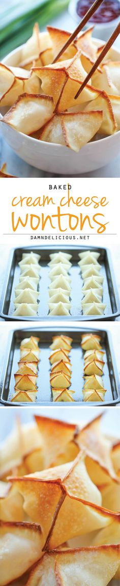Baked Cream Cheese Wontons. No one would ever believe that these crisp, creamy wontons are actually baked, not fried! And they're so easy to make!