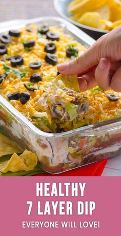 Healthy 7 Layer Dip - iFOODreal - Healthy Family Recipes Healthy 7 (Seven) Layer Bean Dip Recipe is all time favourite Mexican taco dip with black beans, salsa, Greek yogurt, lettuce and a bit of cheese. Healthy Potluck, Healthy Dip Recipes, Bean Dip Recipes, Healthy Dips, Healthy Tacos, Potluck Recipes, Healthy Appetizers, Mexican Food Recipes, Appetizer Recipes