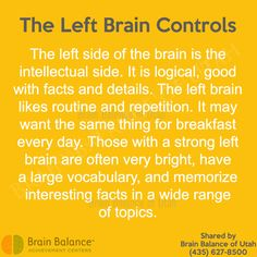 The Left #Brain Controls: The left side of the brain is the #intellectual side. It is #logical, good with #facts and details. The left brain likes #routine and #repetition. It may want the same thing for #breakfast every day. Those with a strong #leftbrain are often very bright, have a large #vocabulary, and #memorize interesting facts in a wide range of topics. #brainfacts #StGeorge #SouthJordan #PleasantGrove #Utah #UT #brainbalance #addressthecause
