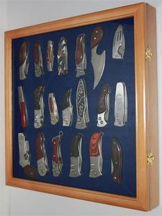 Knife Display Case Holder For Pocket Knives, With Glass Door, OAK Finish  (KC04 OA) Unknown,http://www.amazon.com/dp/B004E8NMS6/refu003d ...