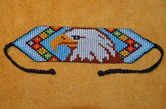 Details about Handmade Glass Seed Bead Loom Work Eagle Bracelet, Colombian Beadwork - Colombia Pearl handmade crystal seed Bracelet Eagle Loom work, p. Brazilian Embroidery Stitches, Rose Embroidery, Cross Stitch Embroidery, Embroidery Patterns, Embroidery Thread, Embroidery Bracelets, Bead Loom Patterns, Beading Patterns, Beading Ideas