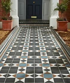 Practical, durable but on trend outdoor tiles from Topps Tiles. Front Garden Path, Front Path, Front Door Steps, Garden Paths, Terrace Garden, Front Doors, Victorian Front Garden, Victorian Terrace, Victorian Tiles