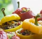 Funny how i was thinking of doing stuffed peppers this weekend! here they are! i have a whole bag of millet i havent opened yet. - Millet Stuffed Red Bell Peppers #Body #Ecology ---recipe recommended by Robust Life Center