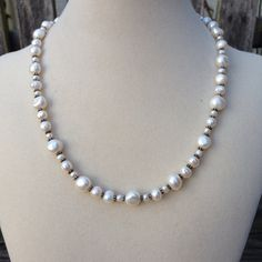 Wedding Necklace Natural Freshwater Pearl by EastVillageJewelry, $50.00 Beautiful artisan jewelry at reasonable prices!  Free shipping within the U.S.  www.eastvillagejewelry.etsy.com