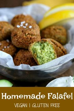 Homemade Falafel is a delicious and flavorful vegan and gluten free snack. Crisp on the outside, fluffy in the middle, and full of fragrant herbs and spices. These bites can be pan fried, deep fried or baked. Gourmet Appetizers, Appetizer Recipes, Dinner Recipes, Veggie Recipes, Vegetarian Recipes, Healthy Recipes, Snack Recipes, Falafel Recipe, Recipe Creator