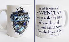 Harry Potter Mug, Ravenclaw Crest Quote Mug, Watercolor Art Cup, Coffee Mug