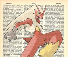 Blaziken Pokemon Dictionary Art Print by MollyMuffinsPrints
