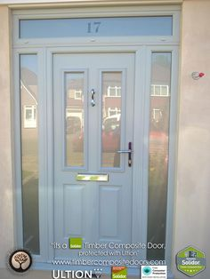 Home Renovation Front Door French-Grey-Ludlow-Solidor-Timber-Composite-Door-with-Ultion-Lock - Front Door Porch, Porch Doors, House Front Door, House With Porch, Entrance Doors, Windows And Doors, Grey Composite Front Door, Grey Front Doors, Front Door Colors