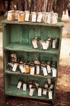 vintage bookcase to hold favors