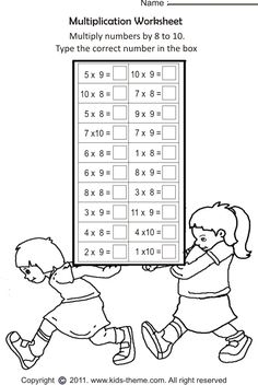 printable math worksheets multiplication 9 times table 2