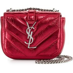 Saint Laurent Monogram Micro Quilted Leather Crossbody Bag ($675) ❤ liked on Polyvore featuring bags, handbags, shoulder bags, monogrammed crossbody, red crossbody purse, monogrammed handbags, monogrammed purses and chevron purses