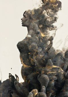"South African artist Chris Slabber has created a spectacular new series called Destruction/Creation, which features images of gorgeous ""sculptures"" formed from paint swirling in water. He uses photo manipulation to form delicate figures in the billows of paint, creating stunning portraits."