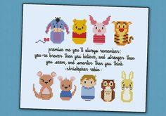 This is a parody, an inspirational cross stitch pattern of the cartoon Winnie the Pooh, featuring: Eeyore, Winnie the Pooh, Piglet, Tigger, and