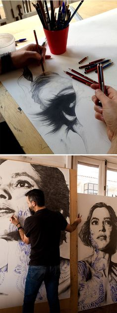 Drawing Pencil Portraits - Gabriel Moreno working on Laura II in his artist studio Discover The Secrets Of Drawing Realistic Pencil Portraits Portrait Au Crayon, Pencil Portrait, Pencil Drawings, Art Drawings, Drawing Portraits, Charcoal Drawings, Horse Drawings, Pencil Art, Inspiration Art