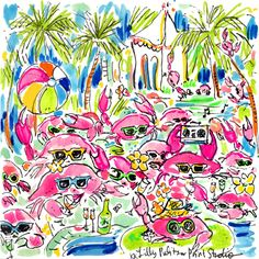 Lily Pulitzer Painting, Lilly Pulitzer Prints, Lilly Pulitzer Iphone Wallpaper, Kids Prints, Art Prints, Crab Party, Happy Art, Print Patterns, Fun Patterns