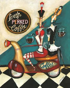 Fresh Perked Coffee Art Print Poster by Jennifer Garant, ( ) Fresh Coffee, I Love Coffee, My Coffee, Coffee Shop, Coffee Mugs, Chefs, Coffee Jitters, Scooter Drawing, Poster Prints