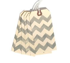 Gray Chevron Gift Tags Set of 6 Handmade by CaffeinatedPapercuts, $3.75