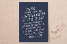 """""""Duet"""" - Wedding Invitations in Navy by Lauren Chism."""