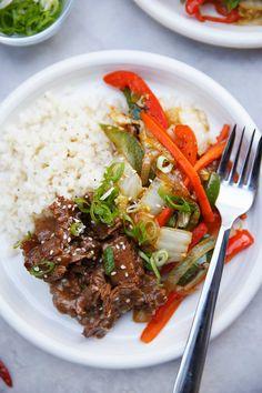 Paleo Mongolian Beef over Cauliflower Rice