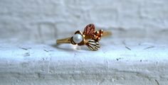 Vintage Leaf and Pearl 10K Yellow Gold Wedding Band by GoldAdore