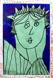 After a discussion about The Statue of Liberty, we did a step-by-step drawing of her, traced it with black markers, and cut them out. We glued them to a chalked sky, and created very patriotic frames!