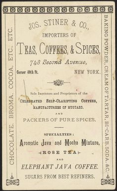 tea importers, New York [back] by Boston Public Library, vintage ad Pub Vintage, Vintage Poster, Vintage Labels, Vintage Ephemera, Vintage Prints, Vintage Coffee, French Vintage, Collages D'images, Binder Labels