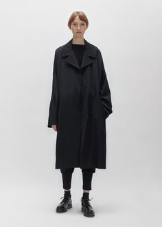 Wool Gabardine Wrap Coat