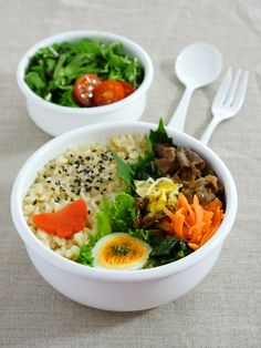 ビビンバ弁当、bibimbap bento(rice mixed with meat and vegetables)