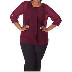 Plus Moda Women's Plus-Size Woven Top With Front Seam