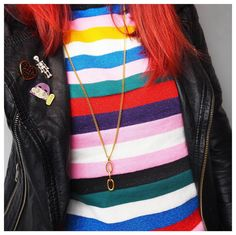 """My new jumper from @monki is the jumper of my dreams - rainbow colours stripes and glitter!  Also my necklace is from @brokenchainco. Each chain sold helps provide people in developing nations with clean safe drinking water and all my followers can get 13% off with the discount code """"Rachie"""". Take a look at their gorgeous necklaces on brokenchain.co"""