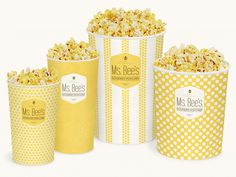 Bee's Gourmet Popcorn is a school assignment which called for the complete rebranding of a boutique style popcorn shop. Popcorn Cones, Popcorn Seeds, Popcorn Shop, Flavored Popcorn, Gourmet Popcorn, Popcorn Recipes, Popcorn Packaging, Container Design, Bee Theme