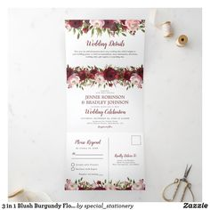 Tri Fold Wedding Invitations, Wedding Invitations Australia, Burgundy Wedding Invitations, Watercolor Wedding Invitations, Invites, Invitation Paper, Floral Invitation, Wedding Stationary, Wedding Details