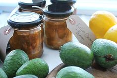 Bottle up extra feijoas and enjoy the flavours in the winter months. We've got feijoa chutneys, feijoa jams and feijoa jellies that make use of these delicious autumn fruits. - Eat Well (formerly Bite) Chutney Recipes, Jam Recipes, Lemon Recipes, Relish Recipes, Savoury Recipes, Fruit Recipes, Healthy Recipes, Homemade Crumpets