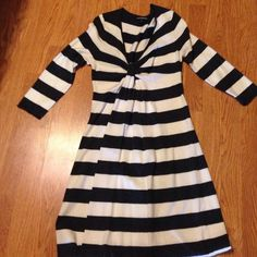 Dress Gray and white striped lightweight sweater dress. 3/4 sleeve, above knee. Worn once. Express Dresses Midi
